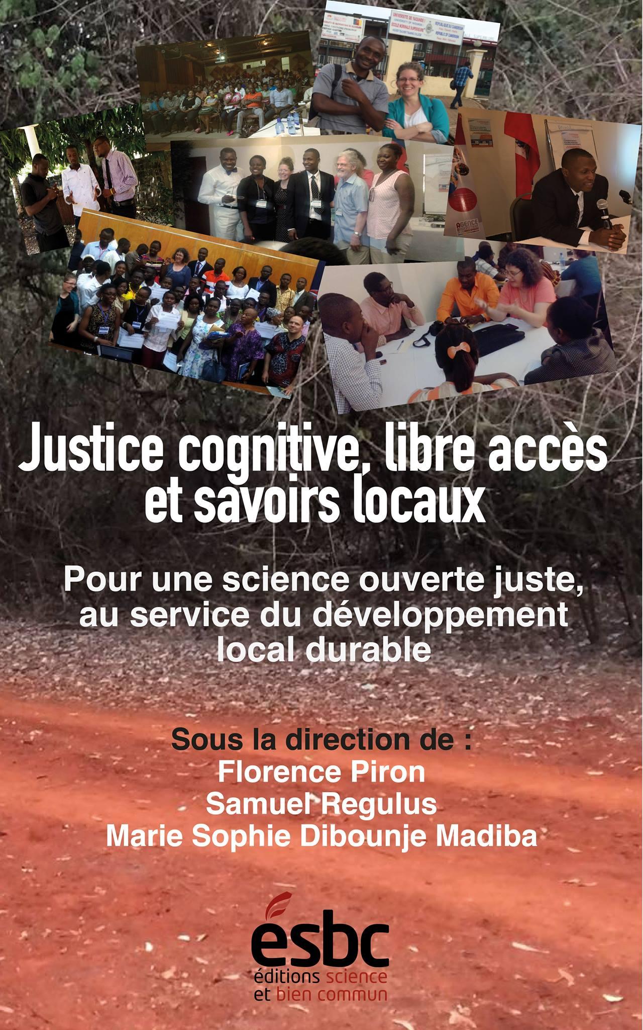 Affiche sur fond de photos de gens en Afrique lors d'ateliers, etc. Édition Science et bien commun (ESBC).